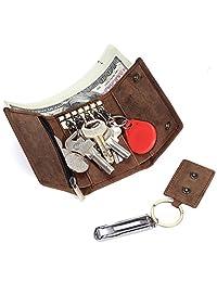Geremen 意大利进口疯马牛皮钥匙包男真皮多功能卡包男士汽车锁匙包 9069 (疯马棕色)