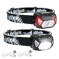 LED 头灯手电筒,可充电头灯,6 种模式,超亮,轻便舒适,适合成人和儿童跑步、露营、远足等,含电池和 USB 数据线