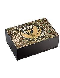 中谷兄弟商会 山中漆器 5.0匠 宝石盒(附赠棉絮) 黑色 15X10Xh5.3cm 正仓院风凤凰 33-3709