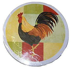 公鸡燃烧器盖 ~ 公鸡图案 4 件套 棕色,红色 Cooking Concepts Set of 4 Burner Covers ~ Rooster on Multicolored Squares
