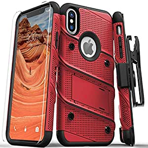 Zizo Bolt 系列兼容 iPhone Xs Max 手机壳*级跌落测试,钢化玻璃屏幕保护膜,皮套,支架 红色/黑色