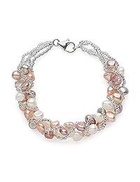 多色淡水养殖编织珍珠手链,纯银扣