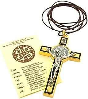 St. Benedict 十字架项链吊坠带皮革绳