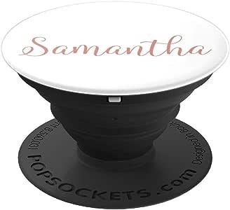 Samantha 个性化腮红粉色和白色定制姓名 PopSockets 手机和平板电脑握架260027  黑色