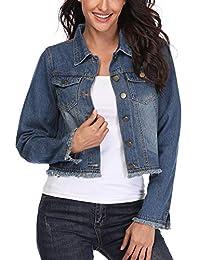 MISS MOLY 女式短款牛仔夹克长袖水洗牛仔外套男友风弹力复古 2 个西部口袋