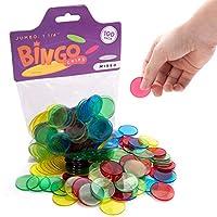 100 个 Jumbo 1.25 英寸大型印刷卡片宾果筹码 - 教育 STEM 资源-儿童课堂大半透明彩色计数标记,适合小学和幼儿数学游戏