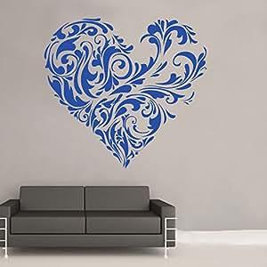 "Kult Kanvas 60 x 64 cm 大号""ROM19 Floral Love Heart"" 贴花乙烯基墙面贴纸,黑色_Parent 亮蓝色 60 x 64 cm Large ROM 19 14"