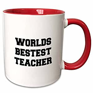 "3dRose 183647_5""Worlds Best Teacher 双色马克杯,311.84 g,红色"