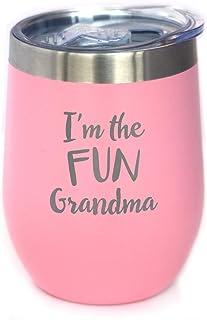 Fun Grandma - 带滑盖的葡萄酒杯 - 无柄不锈钢保温杯 - 有趣的户外露营礼物 粉红色