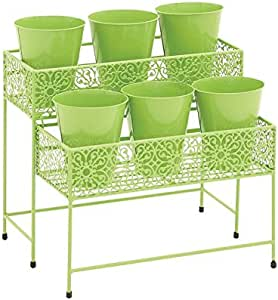 Deco 79 2-Tier Metal Plant Stand, 15 by 17-Inch, Green