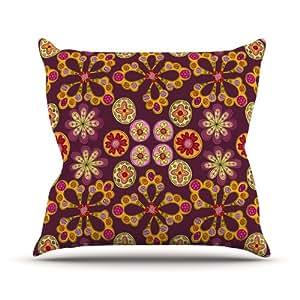 Kess InHouse Jane Smith 印度珠宝花卉室内/室外抱枕 16 in. 紫色 JS1006AOP02