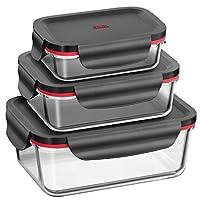 Set Boîtes Alimentaires 多元化硅石,3 Pièces,Hermétique,Verre Borosilicate,Plastique,0022632711