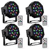 CO-Z LED 舞台灯带遥控器,4 个装 18x3W 红绿宝石灯,4 个 DMX 控制声激活舞台效果照明,适用于 DJ 家庭派对节日舞厅俱乐部婚礼教堂俯卧