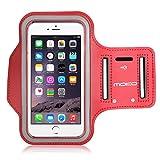 MoKo iPhone 6 Plus / iPhone 6s Plus运动臂带 防汗透气轻便臂袋 内置钥匙扣/卡袋/耳机口手机臂包 跑步登山骑自行车户外运动包 三星/小米/华为等手机跑步包 适用于6.0寸以下机型 红色(M码:27.5cm-42cm)