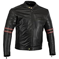 摩托车装备 The Rocker 摩托车黑色皮质咖啡色赛车夹克 CE1621-1 PU 盔甲,血红色英码 36 欧码 48 小码