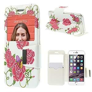 iPhone 6 Plus 视窗皮革卡夹套 - 漂亮的花朵和蝴蝶 - 多色
