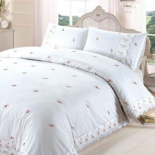 ソフィーフローラルレース刺繍布団布団カバー寝具セット、ポリエステル - コットン、ホワイト、特大
