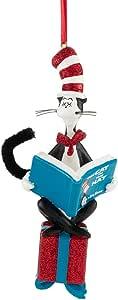 Department 56 Dr. Seuss Cat Reading on Present 装饰品,12.70 cm