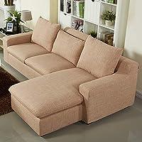 【下单赠价值998元真皮圆凳1个】ZUOYOU 左右 布艺沙发可拆冼简约现代沙发L型转角沙发木质沙发DZY2506 转二件反向8024-8暖茶色