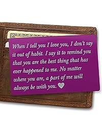 个性化金属钱包爱笔记卡、丈夫礼物、男士周年纪念礼物