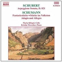 进口CD:吉他形大提琴奏鸣曲 幻想曲 民歌风格小曲 降A大调柔板和快板 Schubert:Arpeggione Sonata Schumann:Fantasiestucke(CD)8.550654