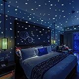 BOLLEPO 夜光之星和圆点 332 3D 墙贴适合儿童卧室和房间天花板礼物 美丽发光墙壁贴花