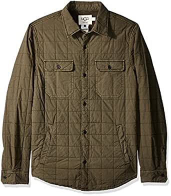 UGG 男式绗缝衬衫夹克 橄榄色 Large
