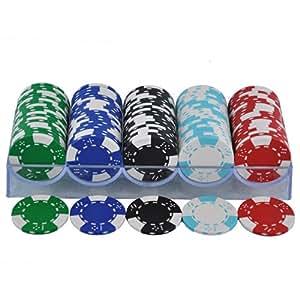 5002经典14克二色骰子皇冠款 100片筹码+透明筹码架
