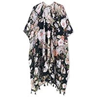 Spicy Sandia 女士泳衣罩衫,流苏开襟和服开衫,复古花卉印花沙滩罩衫