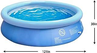 夏季充气式地面游泳池 - 10 x 2.5 英尺(约 25.4 x 6.4 米)户外泳池带手动泵 - 适合成年人、儿童、幼儿 - 花园、后院的趣味水池派对 - 防撕裂和防暴晒