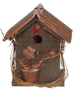 花园装饰 L112 鸟舍,10.5 英寸,多色