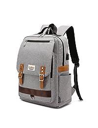 专业修身复古笔记本电脑背包,休闲耐用学院背包,男女通用 15 英寸笔记本电脑,带 USB 充电端口
