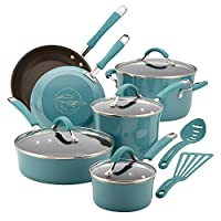 Rachael Ray Cucina 硬搪瓷不粘炊具套装 Agave Blue 12-piece Cookware Set