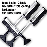 Zento Deals - 2 件装可延展伸缩冰刀雪刷 - 从17英寸延伸至24英寸轻质坚固铝设计