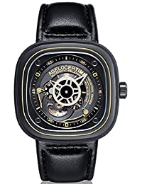 agelocer 艾戈勒 瑞士品牌 50米防水 24小时显示 小牛皮 自动机械男士手表 时尚创意镂空方形男表 5003C1 金色黑皮(亚马逊自营商品, 由供应商配送)