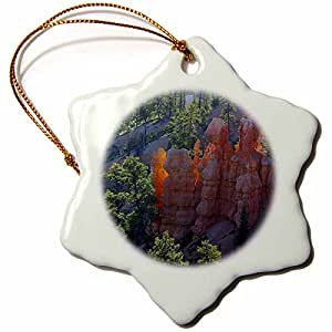 3dRose orn_58573_1 The Sun Sets on Bryce Canyon Utah-Snowflake Ornament, 3-Inch, Porcelain
