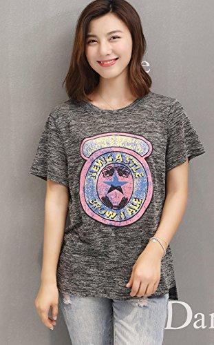 FABEILAI 2017年夏のヨーロッパとアメリカの女性のラウンドネックの緩いカジュアル半袖Tシャツ半袖プリントTシャツの潮7653