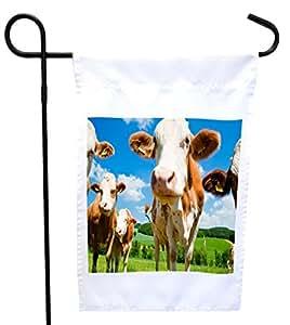 Rikki Knight 仿造牛房或花园旗帜,11 x 11 英寸图像,12 x 18 英寸