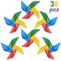 FEPITO 风车塑料风车彩色风转盘儿童生日礼物户外装饰 38Pack 4 Colors Mixed A3392FPWJB