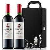 【优红酒酒庄直采】2010葡萄采摘年份 法国波尔多玛歌村法定小产区干红葡萄酒双支礼盒装750ml*2