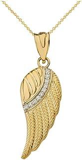 CaliRoseJewelry 14k 黄金羽毛天使翼钻石吊坠项链