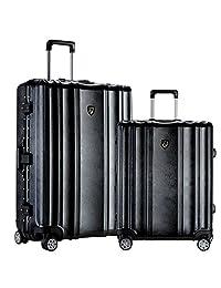旅行者俱乐部行李 DONNA 2件套 ABS + PC 铝框 spinner 套装,黑色