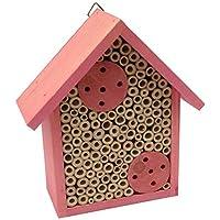 Mason Bee House – 竹管装蜜蜂酒店,专属蜜蜂 – 通过为小蜜蜂提供更细腻的蜜蜂 – 通过FSC 认证木材制作,吸引您的花园 Medium Bee House 粉红色 Bamboo Bee House 01