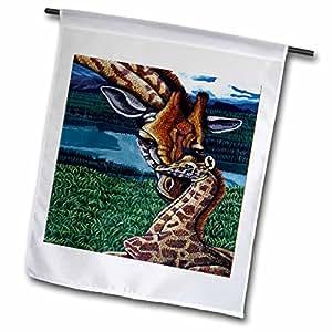 Steve shachter 艺术–长颈鹿母亲–旗帜 12 x 18 inch Garden Flag