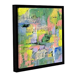 ArtWall Pamela J. Wingard's Abstract Family Rules Gallery Wrapped Floater Framed Canvas, 18 x 18""