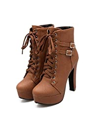 susanny 女式秋季圆头系带脚踝搭扣粗高跟防水台骑士马丁靴