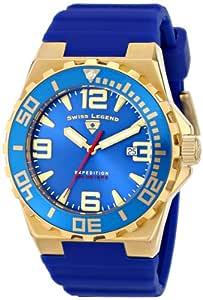 Swiss Legend 男式 10008-YG-03-BLB Expedition 蓝色表盘蓝色硅胶手表