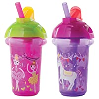 Munchkin Click Lock Flip Straw Cup, Pink/Purple, 9 Ounce, 2 Count