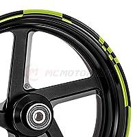 MC Motoparts 2 套 8 件 43.18 厘米轮辋条纹贴纸带 DIY 检查图案适用于川崎阿普利亚雅马哈 MCWSACHECK01BKGR17-AM001