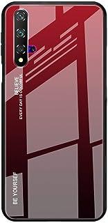 Toppix 保护套适用于华为 Nova 5T / 荣耀 20,混合外壳 TPU 缓冲 + 多色渐变 9H 后盖【防刮擦】,红色/黑色
